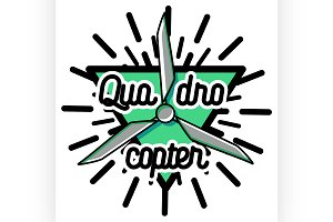 Color vintage Quadrocopter emblem