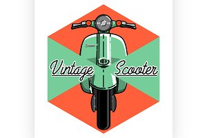 Color vintage scooter emblem