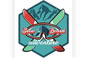 Color vintage Ski sport emblem