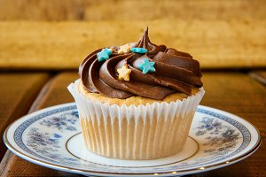 Sweet chocolate cupcake