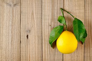 Lemon on wooden table