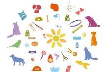 Pets icons vector set