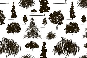 Trees sketch set pattern