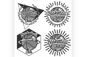 Vintage basketball emblems