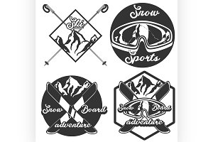 Vintage Ski sport emblems