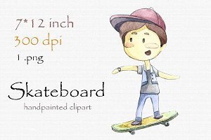 Digital clipart, skateboard
