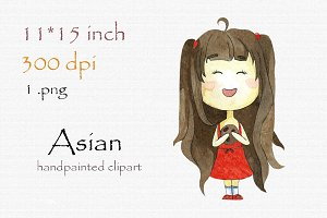 Digital clipart, asian girl