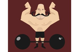 Huge bald circus athlete. Vector