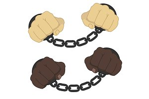 Hands in steel handcuffs. Vector