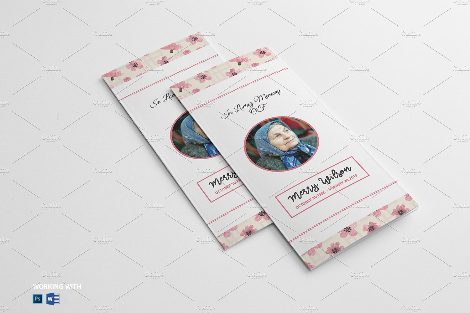 trifold funeral program template v04 brochure templates creative