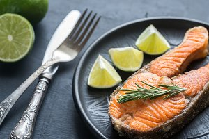 Roasted trout steak
