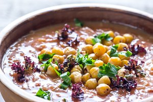 Bowl of chickpea soup