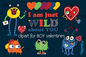 Valentine Monsters for Boys
