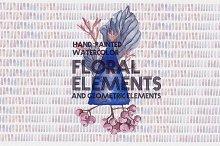 Watercolor Floral/Geometric Clipart