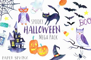 Halloween Watercolor Mega Pack
