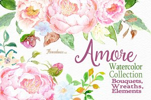 Amore, Watercolor Floral Clipart Set