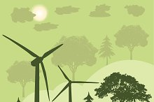 wind turbines, green energy concept,