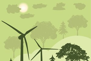 wind turbines, green energy concept,
