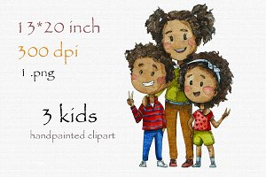 Digital clipart, black kids