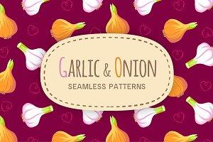 Garlic & Onion seamless patterns