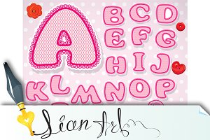 Child alphabet - lace letters, pink