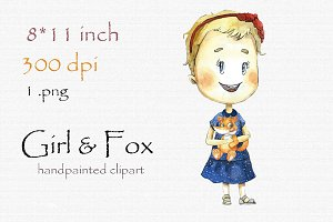 Digital clipart, girl and fox