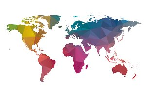 low poly world map colorful