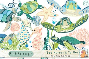 Sea Horses and Sea Turtles ClipArt