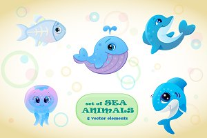 Set of sea animals. Vector.