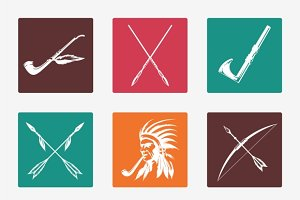 Ethnic native american indians icons