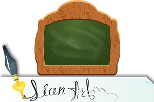 Wooden sign board (chalkboard)