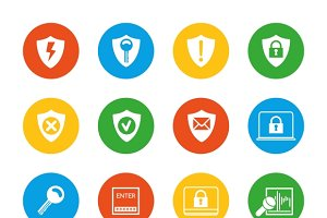 Flat security icons set