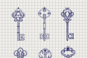 Set of sketch ornamental keys
