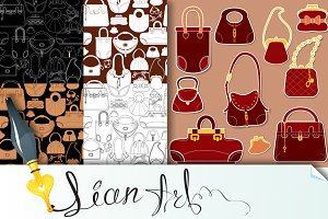 Set of woman bags.