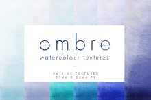 Blue Ombre Watercolour Textures