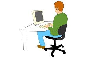 Man Typing Computer