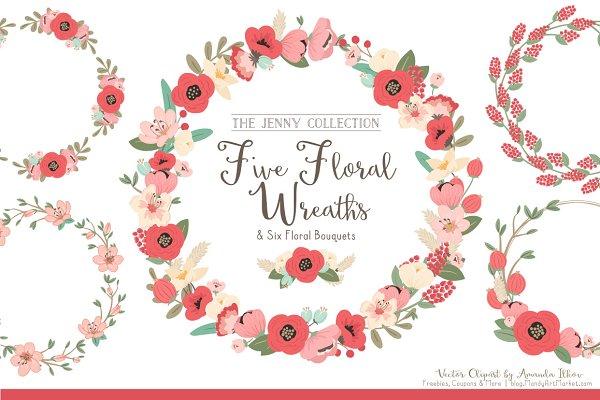 Mint & Coral  Floral Wreaths