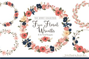 Navy & Blush Floral Wreaths