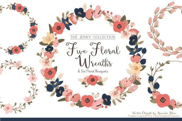 Navy & Blush Floral Wreaths
