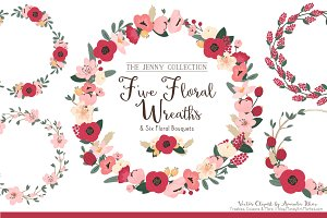 Floral Vector Wreaths in Rose Garden