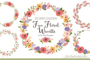 Floral Vector Wreaths in Wildflowers