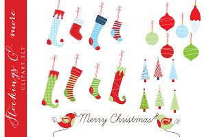 Christmas stockings clip art trees