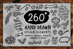 260 + Hand Drawn Design Elements