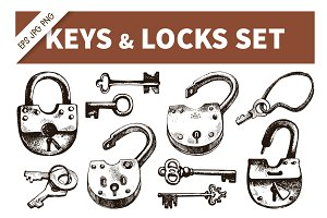 Keys & Locks Hand Drawn Vintage Set