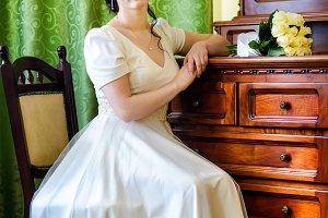 Beautiful bride in luxury hotel room
