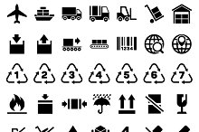 Logistic delivery packing icons