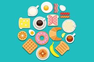 Vector breakfast food and drinks