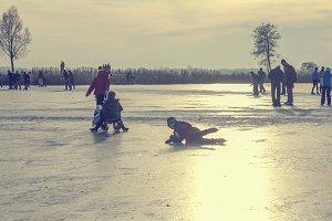 Fun on a frozen lake