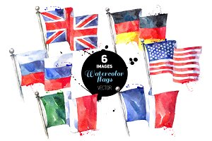 Country Flags Watercolor Vector Set