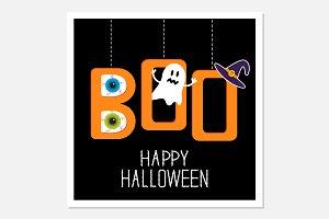 Hanging word BOO. Halloween